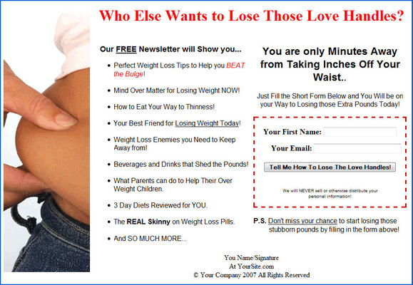 Product picture Diet/Weight Loss - Lose the Lovehandles Email Messages PLR